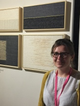 Artist Christina Hesford displaying her art objects created using her weaving and knitting technique. (christinahesford.com)